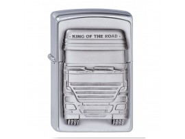Zippo 1300176 King of the Road Emblem Classic Windproof Lighter - Brushed Chrome