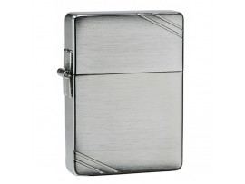 Zippo 1935 Replica with Slashes Windproof Lighter - Brushed Chrome Finish