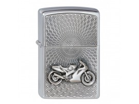 Zippo Motorbike Emblem Windproof Lighter - Brushed Chrome - 2000225