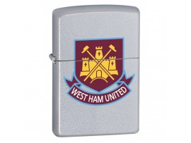 Zippo 205WHFC West Ham United FC Official Crest Windproof Lighter - Satin Chrome
