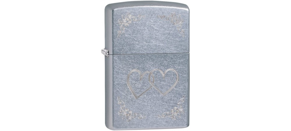 Zippo 24016 Heart to Heart Classic Windproof Lighter - Street Chrome Finish