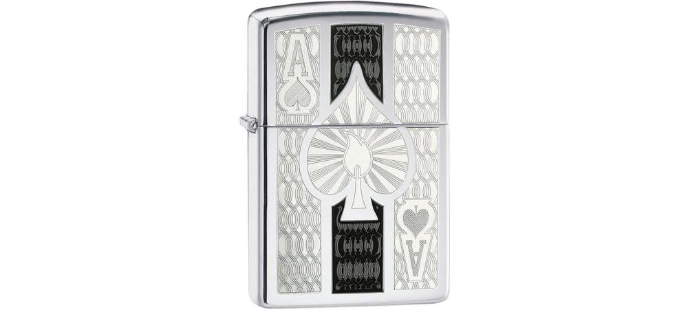 Zippo 24196 Intricate Ace of Spade Design Filigree Classic Windproof Lighter - High Polish Chrome Finish