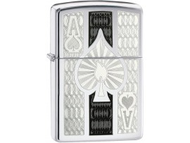 Zippo 24196 Intricate Ace of Spade Design Filigree Classic Windproof Lighter - High Polish Chrome Finish