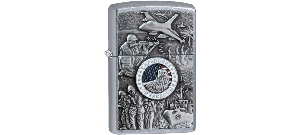 Zippo 24457 Joined Forces US Armed Services Classic Windproof Lighter -  Street Chrome Finish