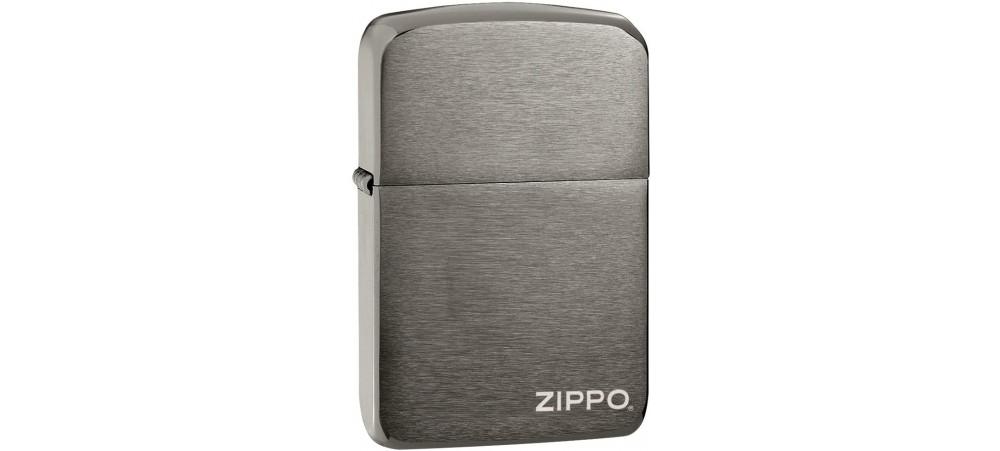 Zippo 24485 Zippo Logo 1941 Replica Windproof Lighter -  Black Ice Finish