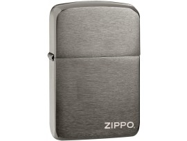 Zippo 24485 Zippo Logo 1941 Replica Windproof Lighter -  Black Ice Finish