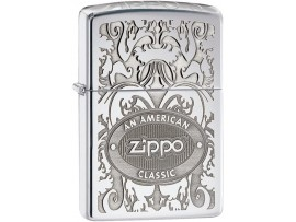 Zippo 24751 Gleaming Patina Crown Logo Filigree Classic Windproof Lighter -  High Polish Chrome Finish