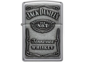 Zippo 250BJD.427 Jack Daniel's Label Pewter Emblem Classic Windproof Lighter - High Polish Chrome Finish