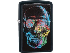 Zippo 28042 Artistic Colourful X-Ray Skull Classic Windproof Lighter - Black Matte Finish