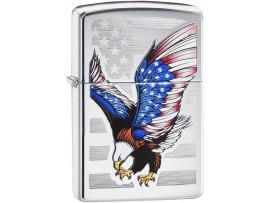 Zippo 28449 American Eagle Flag USA E Star Classic Windproof Lighter - High Polish Chrome Finish