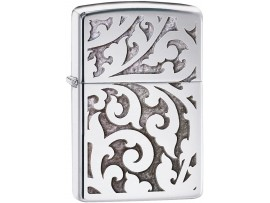 Zippo 28530 Filigree Floral Classic Windproof Lighter - High Polish Chrome Finish