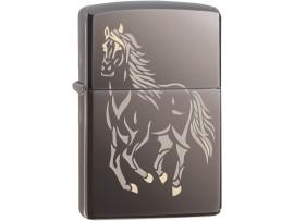 Zippo 28645 Running Horse Classic Windproof Lighter - Black Ice Finish
