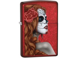 Zippo 28830 Day of the Dead Girl Classic Windproof Lighter - Candy Apple Red