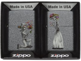 Zippo 28987 Day of the Dead Skull Couple Set Classic Windproof Lighters - Iron Stone Finish