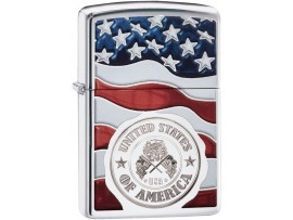 Zippo 29395 American Stamp (USA) on Flag Classic Windproof Lighter - High Polished Chrome
