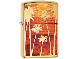 Zippo 29420 Palm Tree Sunset Classic Windproof Lighter - High Polished Brass Finish