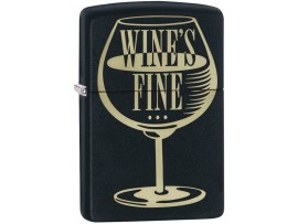 Zippo 29611 Wine's Fine Liquor's Quicker Classic Windproof Lighter - Black Matte Finish