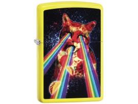 Zippo 29614 Pizza Cat Rainbow Classic Windproof Lighter - Neon Yellow Finish