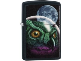 Zippo 29616 Space Owl Classic Windproof Lighter - Black Matte Finish