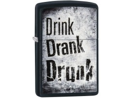 Zippo 29618 Drink, Drank, Drunk Classic Windproof Lighter - Black Matte Finish