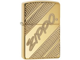 Zippo 29625 Zippo Logo Coiled Armor Windproof Lighter - High Polish Brass Finish