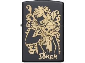 Zippo 29632 Skull Joker Windproof Lighter - Black Matte Finish