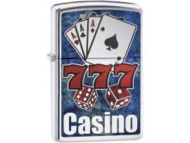 Zippo 29633 Fusion Casino Lucky Classic Windproof Lighter - High Polish Chrome Finish