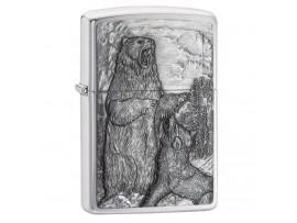 Zippo 29636 Bear vs Wolf Design Classic Windproof Lighter - Brushed Chrome Finish