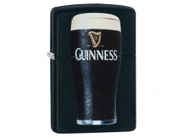 Zippo 29649 Guinness Pint Glass Design Classic Windproof Lighter - Black Matte Finish