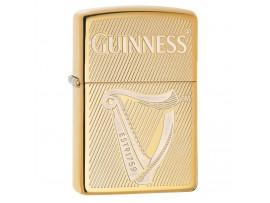 Zippo 29651 Guinness Harp Design Classic Windproof Lighter - High Polish Brass Finish