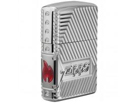 Zippo 29672 Zippo Logo Bolts Design Armor Windproof Lighter - High Polish Chrome Finish