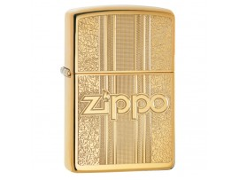 Zippo 29677 Zippo Logo & patterned Design Classic Windproof Lighter - High Polish Brass Finish