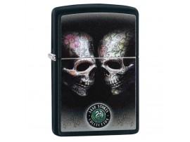 Zippo 29754 Anne Stokes Tattoo Skulls Classics Windproof Lighter - Black Matte Finish
