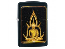 Zippo 29836 Buddha Design Classic Windproof Lighter - Black Matte Finish