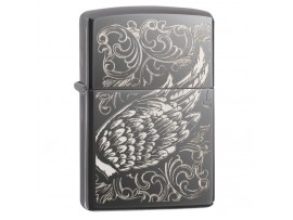 Zippo 29881 Filigree Flame Wing Design Classic Windproof Lighter - Black Ice Finish