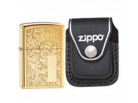 Zippo 352B Venetian High Polish Brass Windproof Lighter with Zippo LPCBK Black Leather Clip Pouch