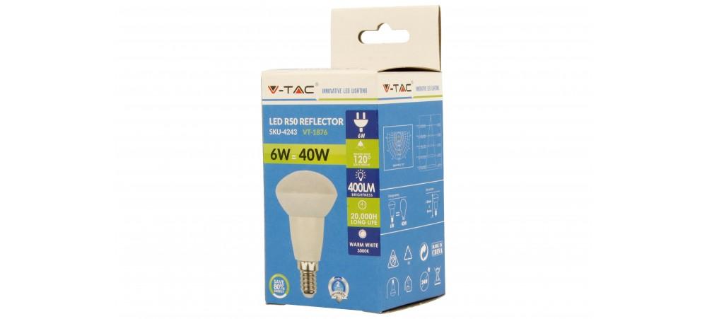 E14 Small Eddison Screw 6W LED R50 3000k Warm White Bulb - V-TAC - 1 / 5 / 10 Bulbs