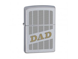 Zippo 60000923 Auto Two Tone Engrave Dad Windproof Lighter - Satin Chrome