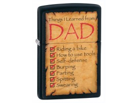 Zippo 60000924 Things I learned from Dad Windproof Zippo Lighter - Black Matte