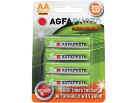 Agfaphoto AA 800mAh NiMH Rechargeable batteries - 4 Pack
