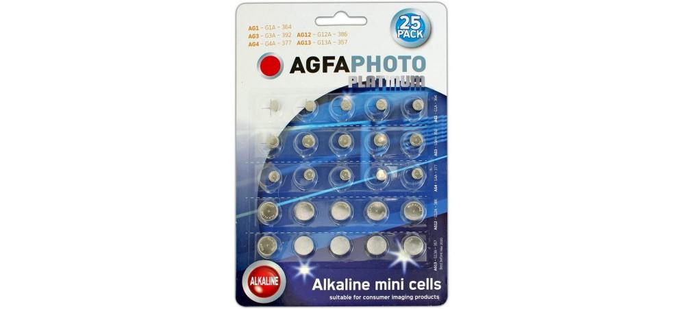 AgfaPhoto Mixed Watch Battery 25 Pack - 364 (AG1) / 392 (AG3) / 377 (AG4) / 386 / (AG12) / 357 (AG13)