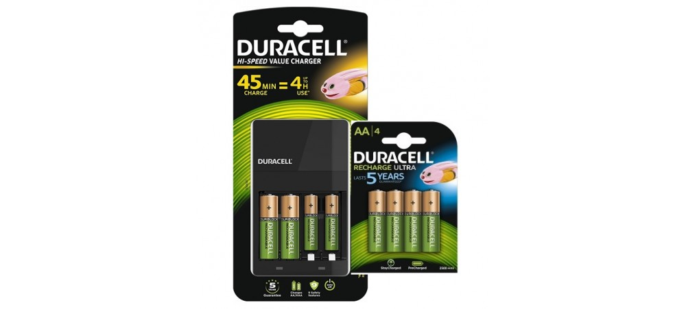 4 Hour Battery Charger with 2 AA/2AAA & 4 AA 2500mAh Rechargeable Batteries - CEF14 - Duracell