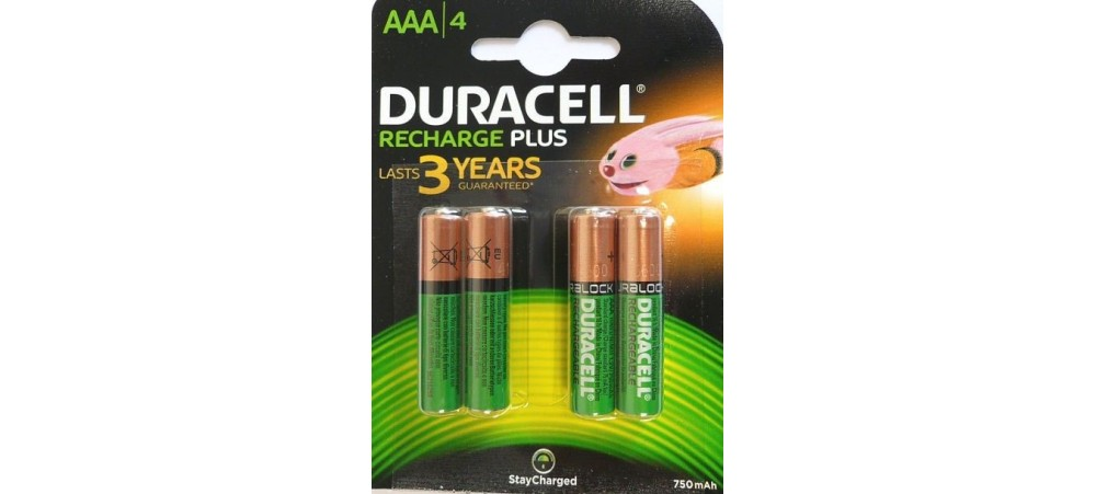 Duracell AAA 750mAh Rechargeable Batteries - 4 Pack