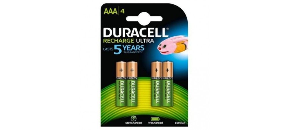 Duracell AAA 850mAh Rechargeable Batteries -  4 Pack