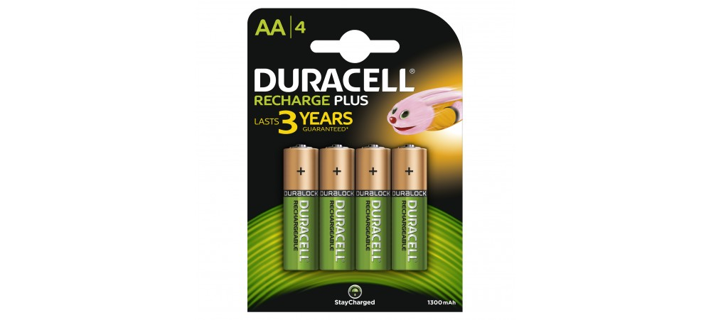 Duracell AA 1300mAh Rechargeable Batteries 4 Pack