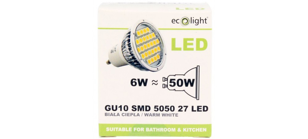 ecolight gu10 6w 400 lumens warm white bulb. Black Bedroom Furniture Sets. Home Design Ideas