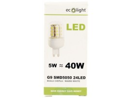 G9 5W Warm White 370 Lumens LED Bulb - Dimensions: 70mm length and 30mm diameter