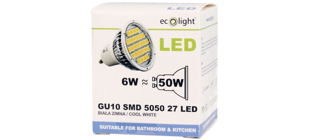 GU10 6W / 50W 400 Lumens Cool White LED Bulb