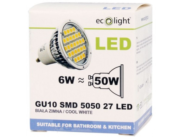 ecolight gu10 6w 400 lumens cool white bulb. Black Bedroom Furniture Sets. Home Design Ideas