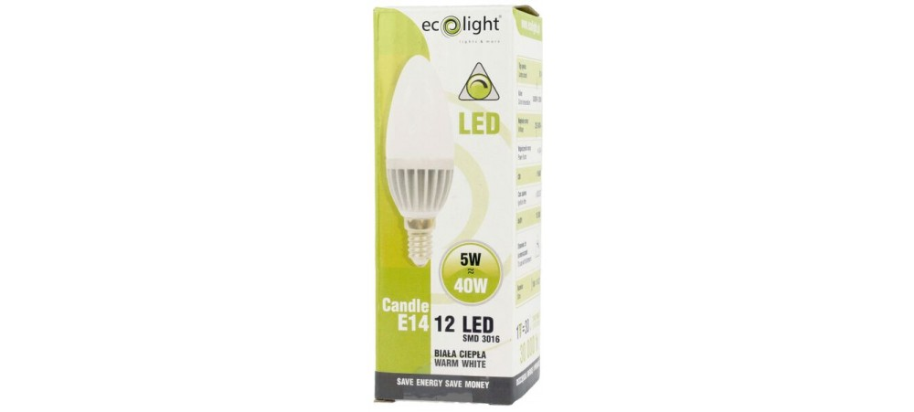 Candle 5W E14 / SES Dimmable LED Warm White 440 Lumens - Dimensions: 70mm length and 30mm diameter